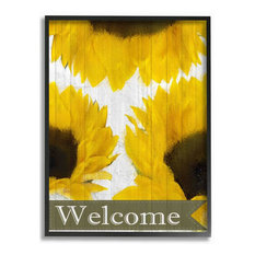 """Sunflower Welcome Yellow Flowers Painting Black Framed Wall Art, 24""""x30"""""""