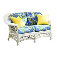 Bar Harbor Love Seat White Jamaica Mist Fabric
