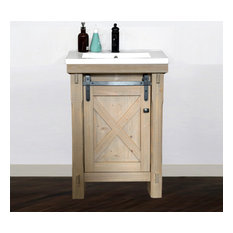 24-inch Rustic Solid Fir Barn Door Style Vanity With Ceramic Single Sink-No Faucet