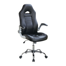 Leatherette Office Chair With Elevated Arms, Black