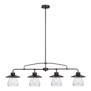 Nate 4-Light Pendant, Oil Rubbed Bronze, Clear Glass Shades, 4-Light