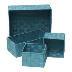 Woven Strap Storage Utilities Shelf Baskets Storage, 4-Piece Set, Turquoise Blue