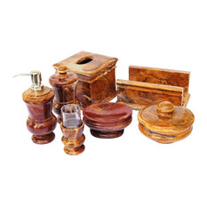 Multi Brown Onyx 7- Piece Bath & Spa Set of Mediterranean Collection