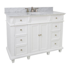 Lyn Single Vanity, White Marble Top, 48""