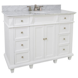 Verona 60 Double Vanity With Carrera White Marble Top White Without Mirror