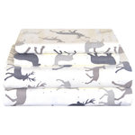 Pointehaven - Pointehaven 170 Flannel Sheet Set, Autumn Deer, Queen - Elegant silhouettes of woodland deer pattern this lodge-inspired sheet set. Made of 170 GSM heavy weight flannel, these sheets will keep you warm all winter long. Made of 100% cotton, oversized for comfort, and machine washable for easy care.