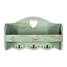 Heart Coat Rack With Shelf, Green