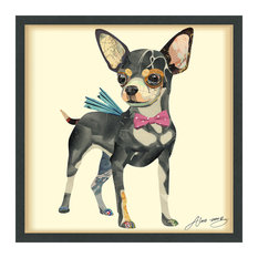 Chihuahua Handmade Collage Framed Wall Art Under Glass Signed by Alex Zeng