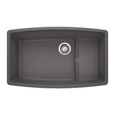 """Blanco 441476 19.5""""x32"""" Granite Single Undermount Kitchen Sink, Cinder"""