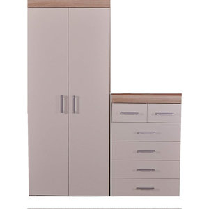 Bedroom Furniture Set with 2 Door Wardrobe and 6 Drawer Chest, White-Sonoma Oak
