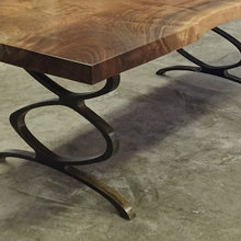 claro walnut and infinity leg dining table