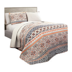 Lush Decor Nesco Quilt Navy And C 3 Piece Set King Quilts