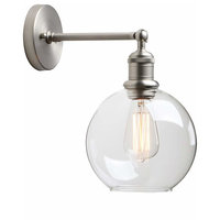 1-Light Wall Sconce Round Clear Glass Globe Shade Brushed
