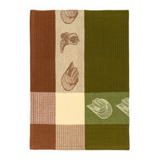 """100% Cotton Brown and Green Dish Towel, Cowboy Fern, 20""""x28"""", Set of 6"""