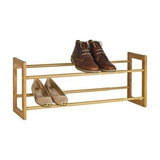 Contemporary Shoe Rack, Stainless Steel Construction, Holds up to 10 Pairs