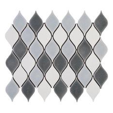 "13.5""x10.88"" Navi Mosaic Tile Sheet, Blue-Gray"