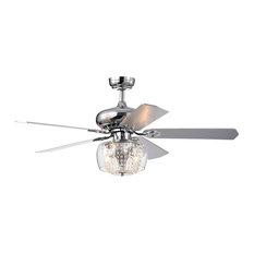 "52"" Indoor Chrome Reversible 5 Blade Ceiling Fan Crystal Strand Glass Light"