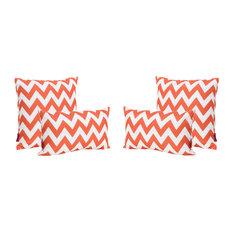 GDF Studio 4-Piece Embry Outdoor Water Resistant Pillows Set, Orange/White