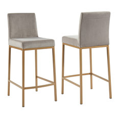 Set of 2, 26'' Counter Stool, Velvet With Gold Metal Legs, Gray