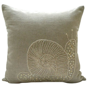 Snail Design Beige Cotton Linen 45x45 Throw Cushion Cover, Snail Pearls