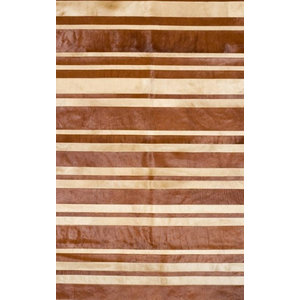 Patchwork Leather Cowhide ST9-10 Rug, Brown and Beige Stripes, 140x200 cm