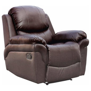 Modern Recliner Chair Upholstered, Bonded Leather With Cushioned Armrest, Brown
