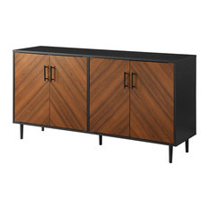 Mid Century Modern Sideboard, Patterned Cabinet Doors, Two Tone Design, Ash Brow