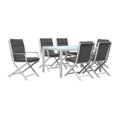 Amber 6-Person Outdoor Dining Set, White and Grey