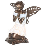 """River of Goods - 8.75"""" Praying Angel Accent Lamp, Matte White - Angelic beauty accented with the rich color of glass.  Let the light from this 8.75""""H angel accent lamp bring a soft, radiant glow to your home.  The metal base features incredible detail in the angel figure, while the inset handblown glass shade provides a warm, comforting light.  The textures of her hair, facial features, her wings, and down to her toes and prayer pillow are all handcasted in metal for dimension and metallic shine.   With her head bowed down and hands folded in prayer, this kneeling angel bears a soft, welcoming presence perfect as a gift to show a loved one you are thinking and caring about them."""