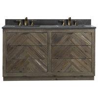 """Legion Furniture Double Sink Vanity, Rustic Brown, 60"""""""