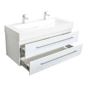 Emotion Design 1200 Double Bathroom Furniture, White High-Gloss, 119 cm