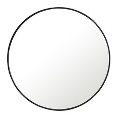 "36"" Round Metal Frame Mirror, Black"