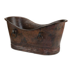 "72"" Hammered Copper Double Slipper Bathtub With Rings"