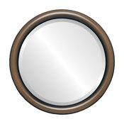 "Pasadena Framed Round Mirror in Walnut, 15""x15"""