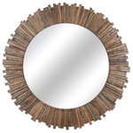 NOVICA - Teak Rays Teakwood Wall Mirror - Resembling the radiant rays of the sun, stripes of teakwood are used to create this wall mirror from Thailand. Arnon Thongkaew offers this piece of home decor, crafted by hand in a circular shape.
