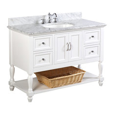 "Beverly Bath Vanity, Base: White, 48"", Top: Carrara Marble"