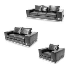 Mia Bella Ciras Leather Living Room Set, Black Stainless Steel, 3-Piece Set