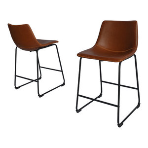 """Modern Faux Leather Chair, Set of 2, Bronze, 24"""" Counter Height"""