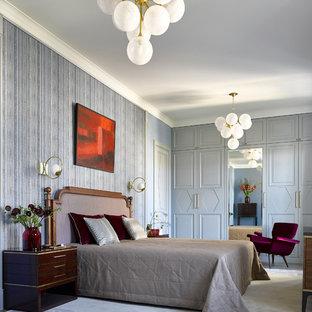 Неиссякаемый источник вдохновения для домашнего уюта: гостевая спальня в стиле современная классика с серыми стенами и серым полом