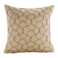 Cotton Jute Heritage Beige Decorative Cushion Cover, 35x35cm