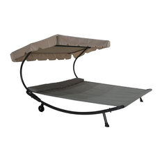 Outdoor Double Chaise Lounge Hammock Bed With Sun Shade and Wheels