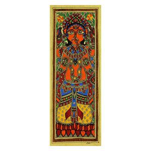 Happy Ganesha Madhubani Painting