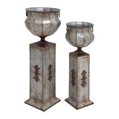Wendell 2-Piece Metal Pedestal Planter Set