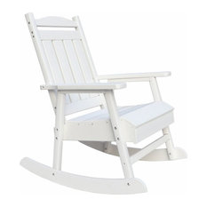 Pemberly Row Eco-friendly Patio Outdoor Rocking Chair in White