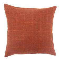 """Geovany Plaid Down Filled Throw Pillow, Deep Red, 20""""x20"""""""