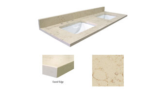 "61"" x 22"" Double Bowl Giallo Beige Infinity Quartz Vanity Top"