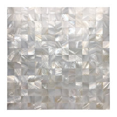 Mother of Pearl Mosaic Square Tile, Seamless Splice, White, Set of 6