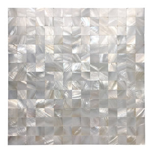 Mother of Pearl Oyster Mini Square Tiles Seamless Splice,, Set of 10