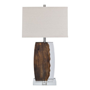 Brown Faux Wood by JONATHAN Y Kennedy 30.5 Resin Table Lamp