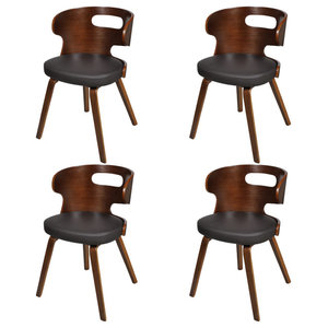 vidaXL Dining Chairs With Cut-out Bentwood Backrest, Set of 4